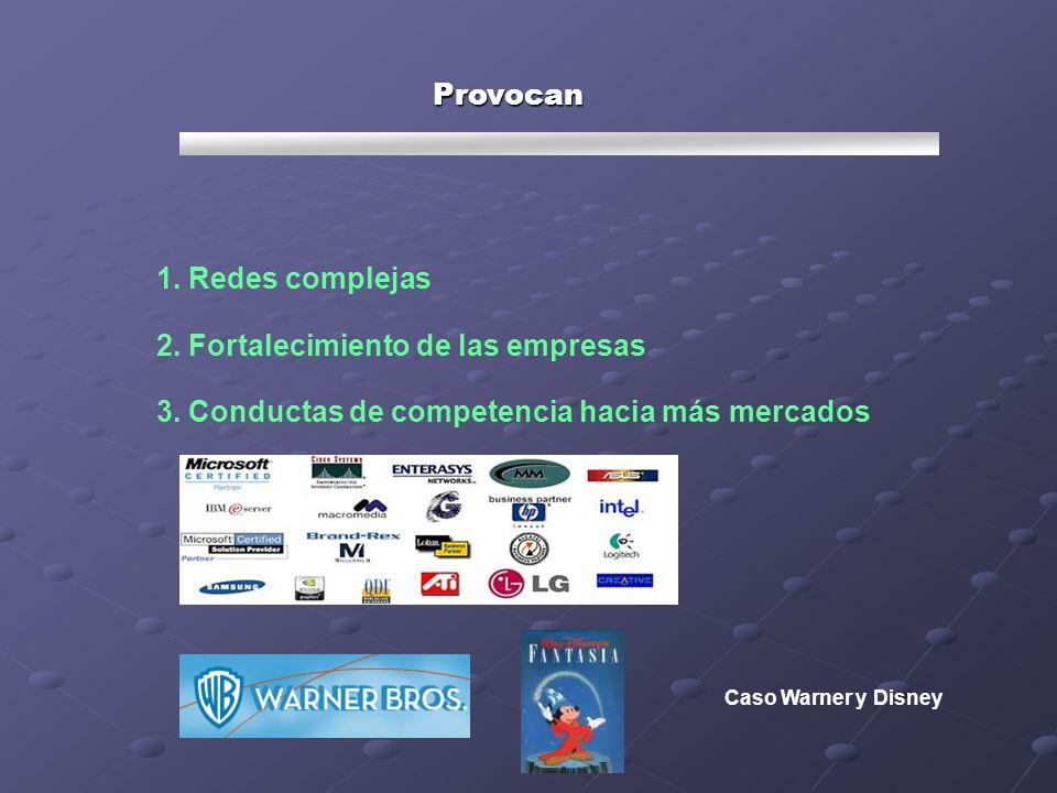 1. Redes complejas Provocan 2. Fortalecimiento de las empresas 3. Conductas de competencia hacia más mercados Caso Warner y Disney