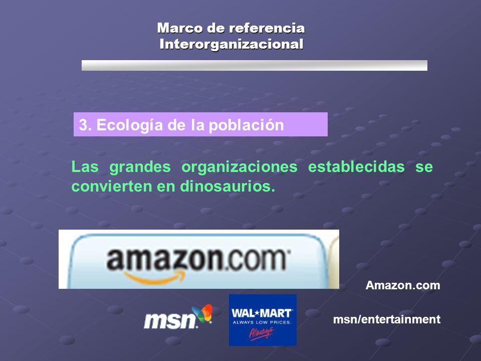 Marco de referencia Interorganizacional Las grandes organizaciones establecidas se convierten en dinosaurios. Amazon.com 3. Ecología de la población m
