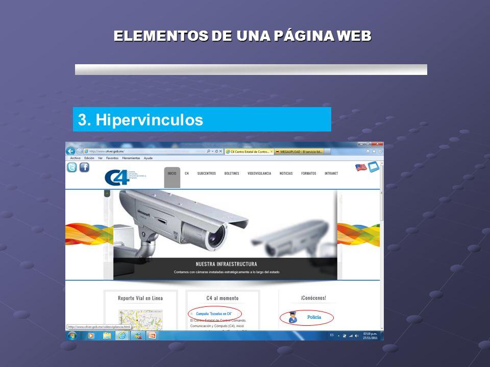 ELEMENTOS DE UNA PÁGINA WEB 3. Hipervinculos