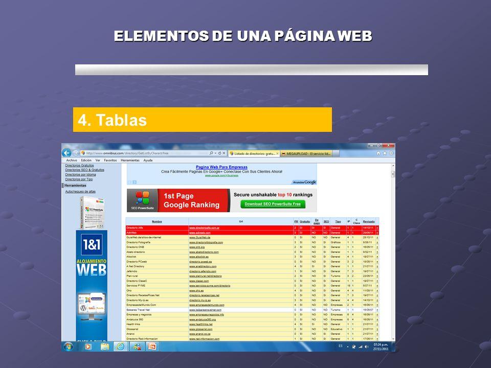 ELEMENTOS DE UNA PÁGINA WEB 4. Tablas