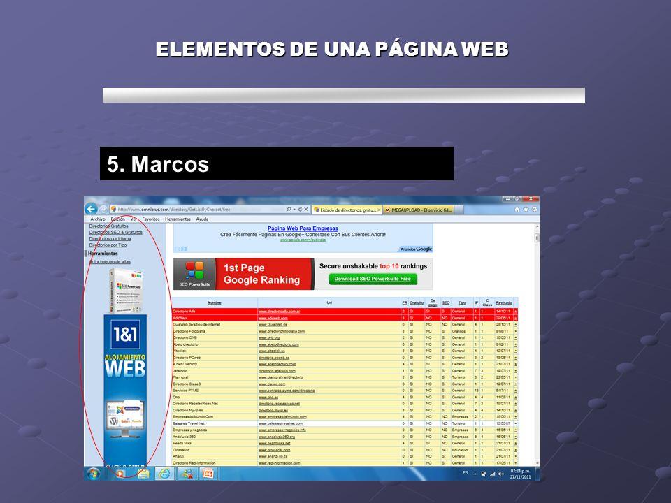 ELEMENTOS DE UNA PÁGINA WEB 5. Marcos