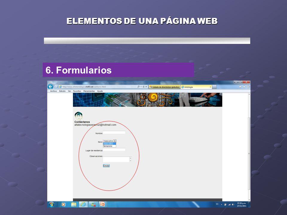 ELEMENTOS DE UNA PÁGINA WEB 7. Otros música, video, gifanimado, etc