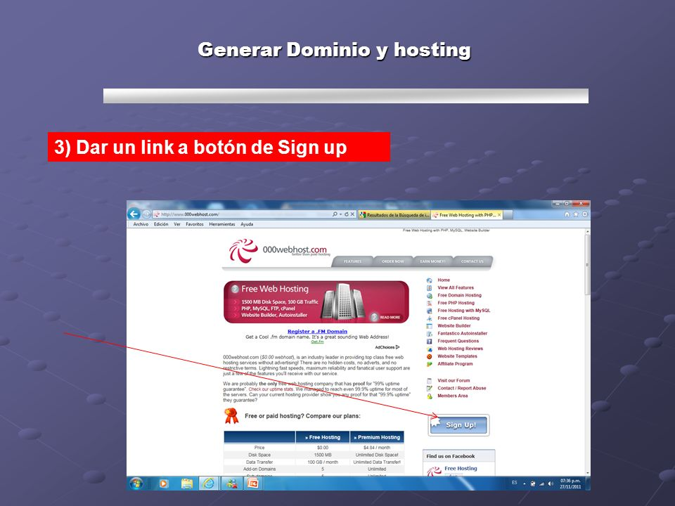 Generar Dominio y hosting 3) Dar un link a botón de Sign up