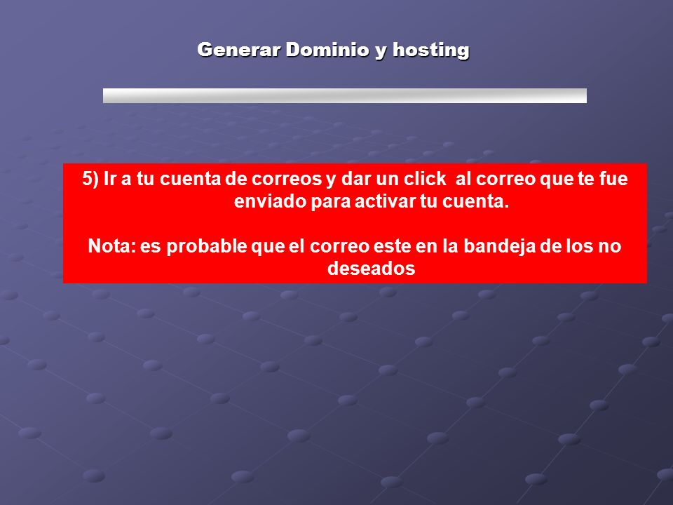 Generar Dominio y hosting 6) Es probable que dándole clic te muestre esta pantalla, si es así llenar los campos y dar clic a submit