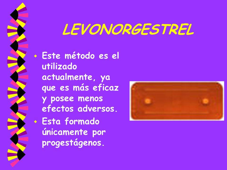 LEVONORGESTREL w Este método es el utilizado actualmente, ya que es más eficaz y posee menos efectos adversos. w Esta formado únicamente por progestág