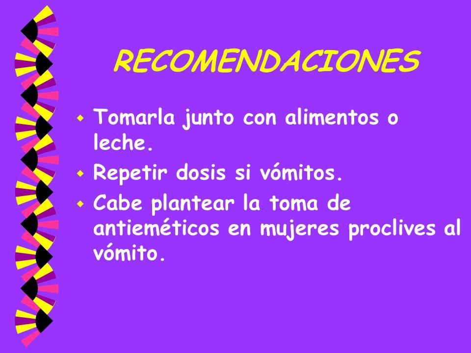 RECOMENDACIONES w Tomarla junto con alimentos o leche. w Repetir dosis si vómitos. w Cabe plantear la toma de antieméticos en mujeres proclives al vóm