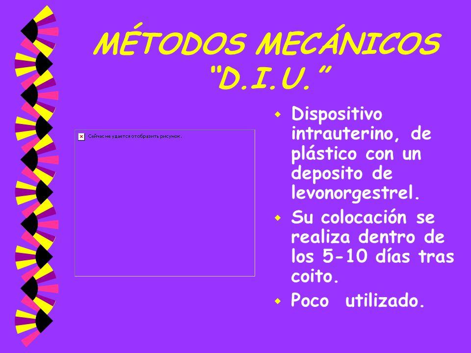 MÉTODOS MECÁNICOS D.I.U. w Dispositivo intrauterino, de plástico con un deposito de levonorgestrel. w Su colocación se realiza dentro de los 5-10 días