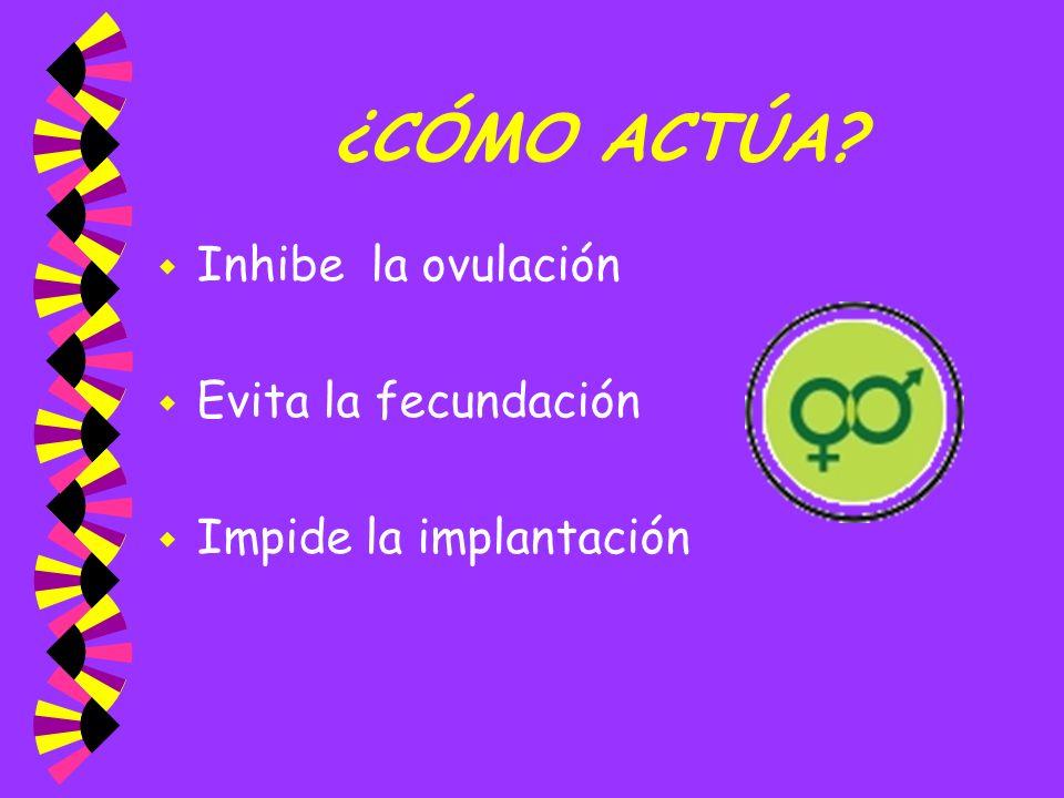 ¿CÓMO ACTÚA? w Inhibe la ovulación w Evita la fecundación w Impide la implantación