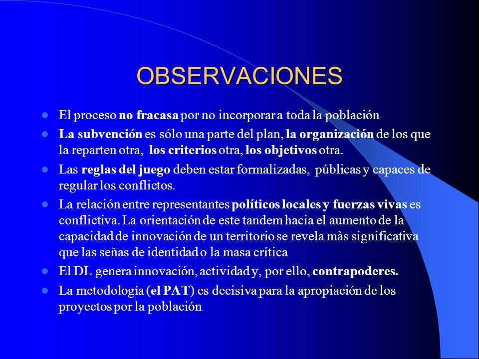 OBSERVACIONES LEADER II es teoría de la práctica Cómo crear innovación local y actividad sostenible No se reduce a proyectos individuales ni es sólo u