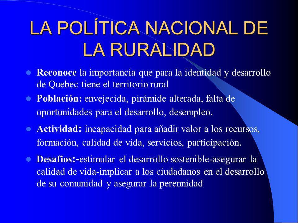 LA POLÍTICA NACIONAL DE LA RURALIDAD (EN QUEBEC) Aprobada el 6,12,2001 Quebec : urbano (78% población en 22% territorio) rural( 22% población en 78% t