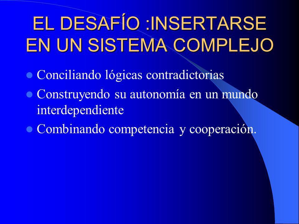 EL DESAFÍO :INSERTARSE EN UN SISTEMA COMPLEJO Conciliando lógicas contradictorias Construyendo su autonomía en un mundo interdependiente Combinando competencia y cooperación.