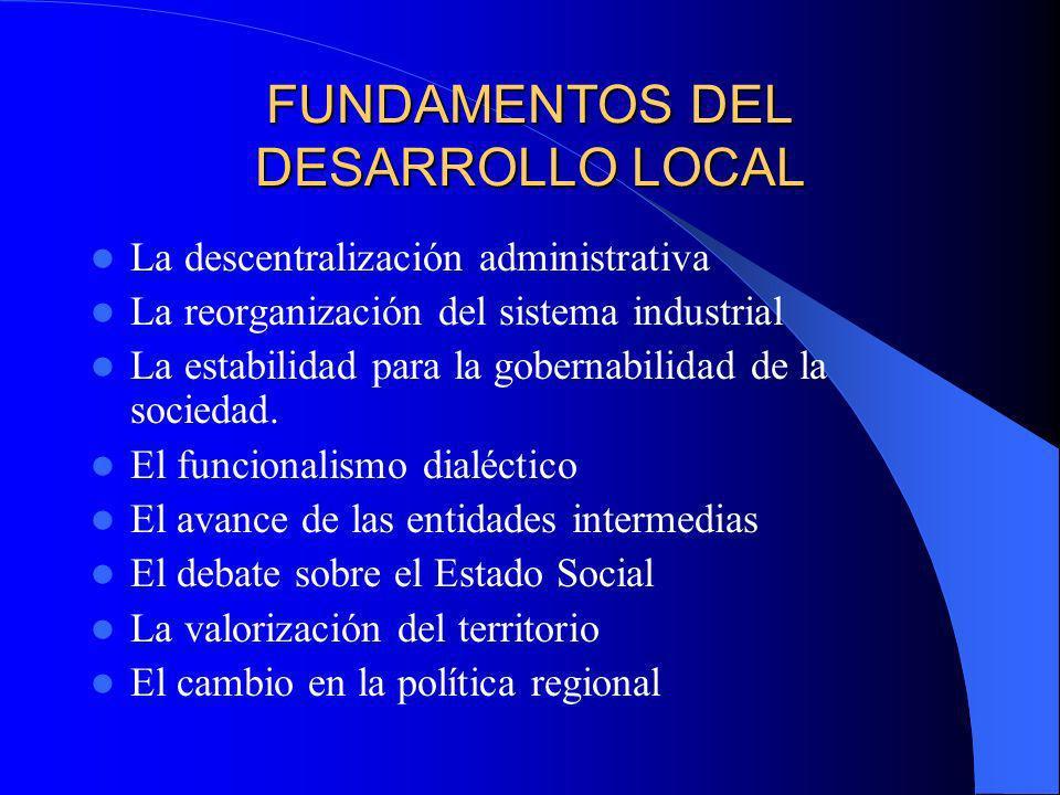 FUNDAMENTOS DEL DESARROLLO LOCAL La descentralización administrativa La reorganización del sistema industrial La estabilidad para la gobernabilidad de la sociedad.