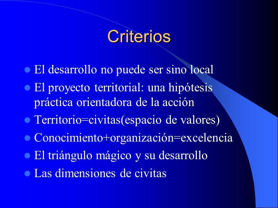 Criterios El desarrollo no puede ser sino local El proyecto territorial: una hipótesis práctica orientadora de la acción Territorio=civitas(espacio de valores) Conocimiento+organización=excelencia El triángulo mágico y su desarrollo Las dimensiones de civitas