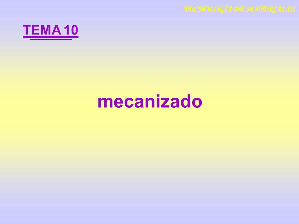 mecanizado TEMA 10 TECNOLOGÍA DE MATERIALES