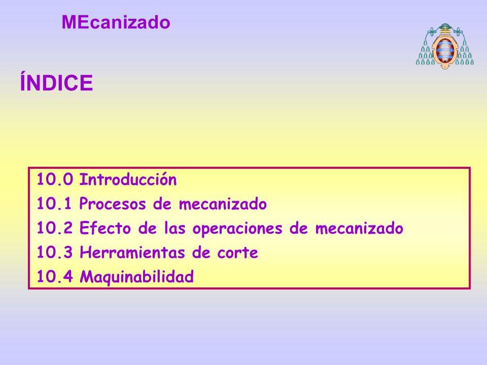 10.0 Introducción 10.1 Procesos de mecanizado 10.2 Efecto de las operaciones de mecanizado 10.3 Herramientas de corte 10.4 Maquinabilidad ÍNDICE MEcan