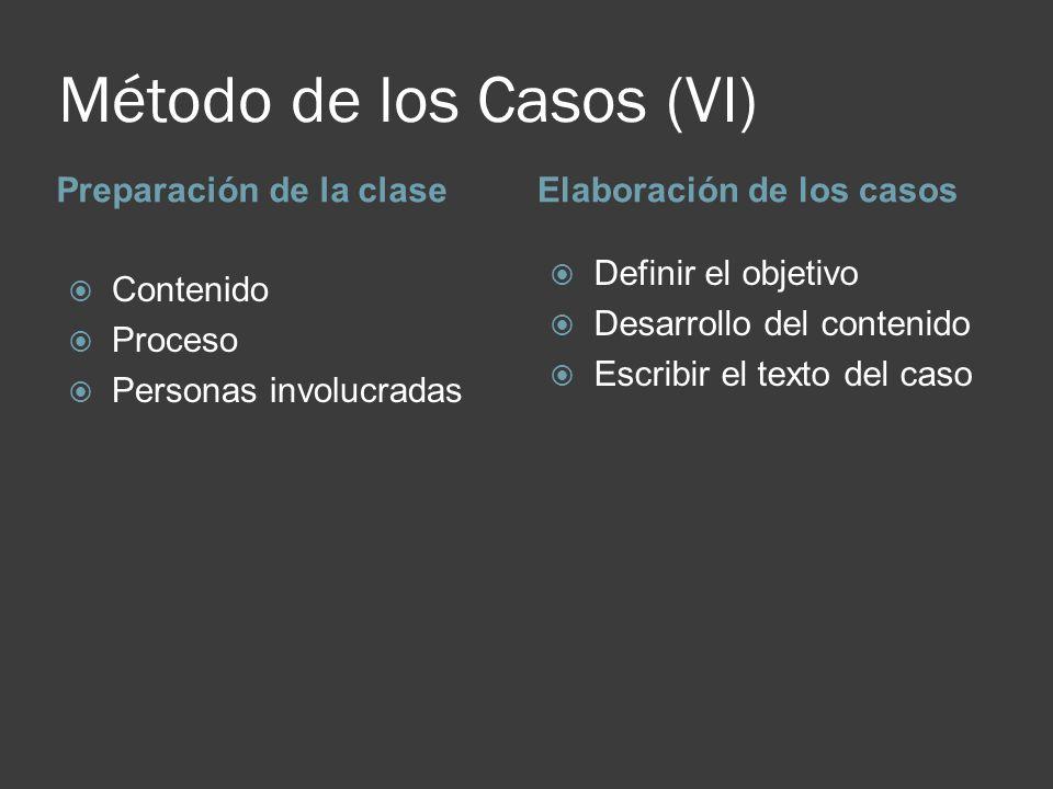 Método de los Casos (VI) Preparación de la claseElaboración de los casos Contenido Proceso Personas involucradas Definir el objetivo Desarrollo del co