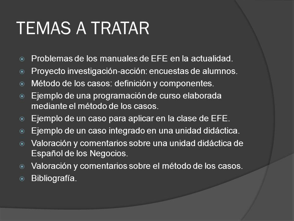 Problemas con los manuales actuales de EFE Tareas con falta de referente externo.