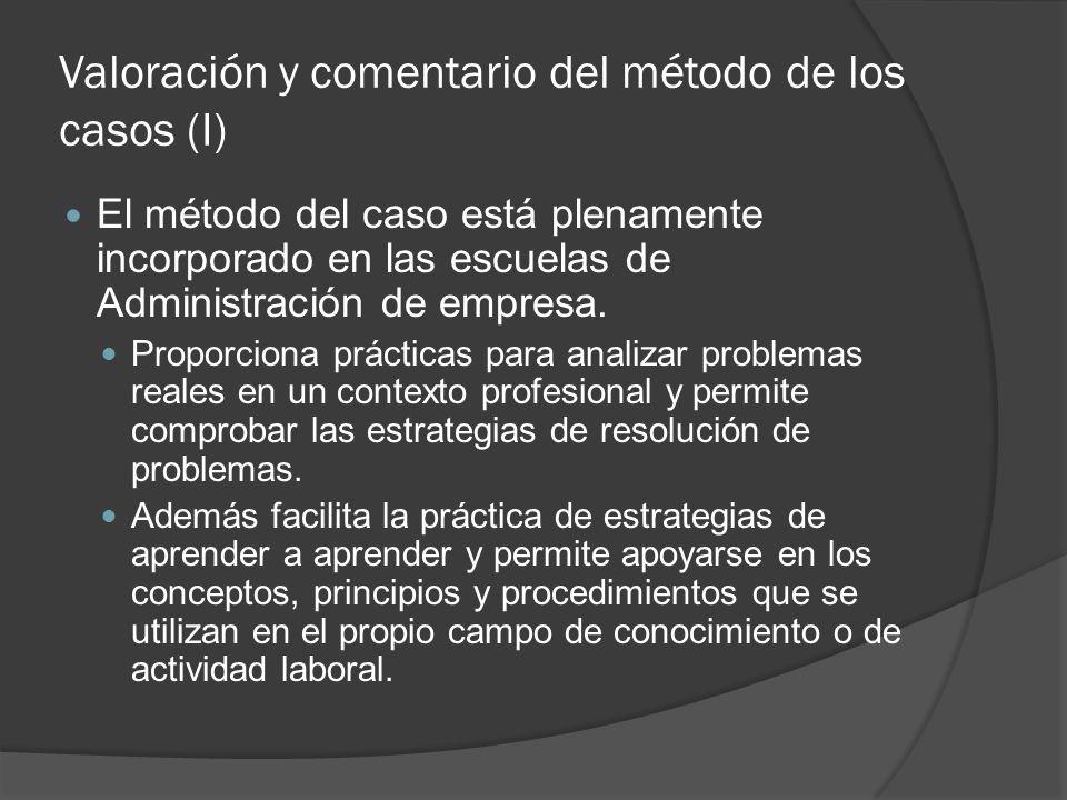 Valoración y comentario del método de los casos (I) El método del caso está plenamente incorporado en las escuelas de Administración de empresa. Propo