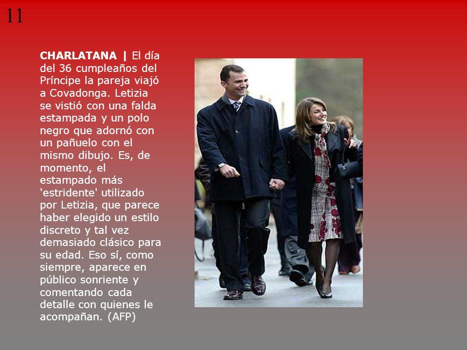 CHARLATANA | El día del 36 cumpleaños del Príncipe la pareja viajó a Covadonga. Letizia se vistió con una falda estampada y un polo negro que adornó c