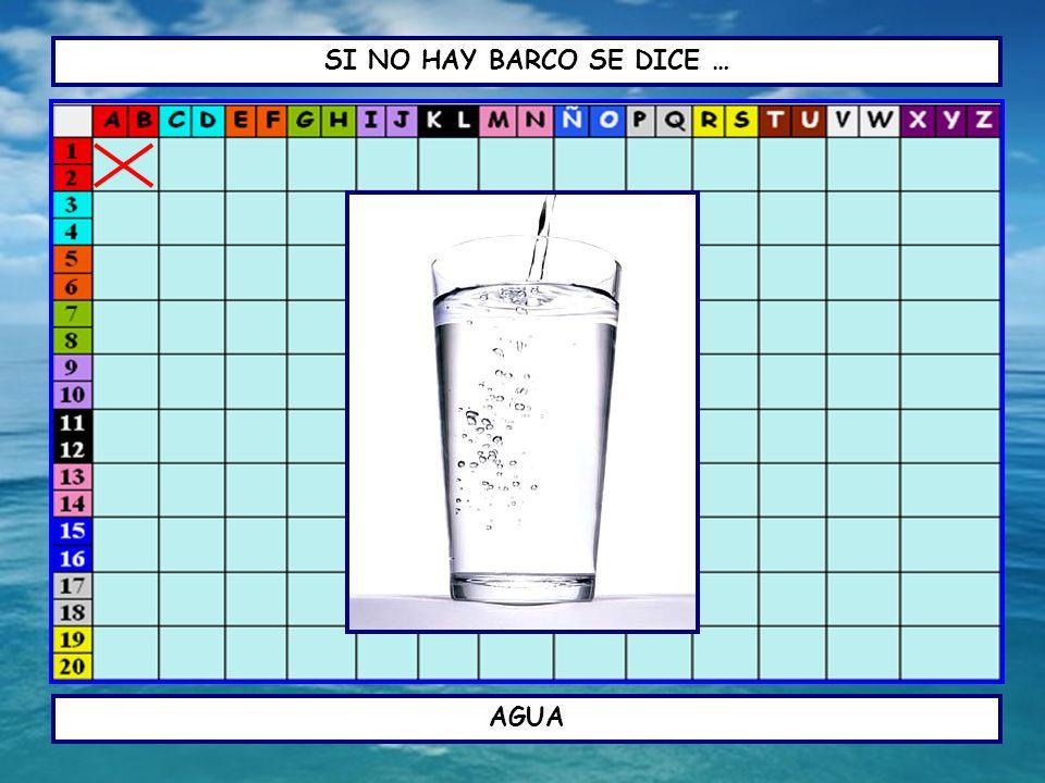 SI NO HAY BARCO SE DICE … UN ESTUDIANTE TIENE QUE DECIR: A/B (A, BE) – 1/2 (UNO, DOS) AGUA