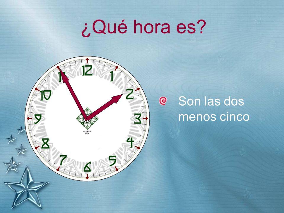 ¿Qué hora es? Son las dos menos cinco