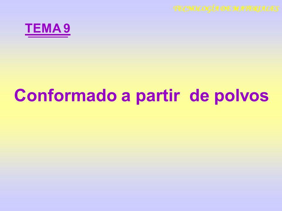 Conformado a partir de polvos TEMA 9 TECNOLOGÍA DE MATERIALES