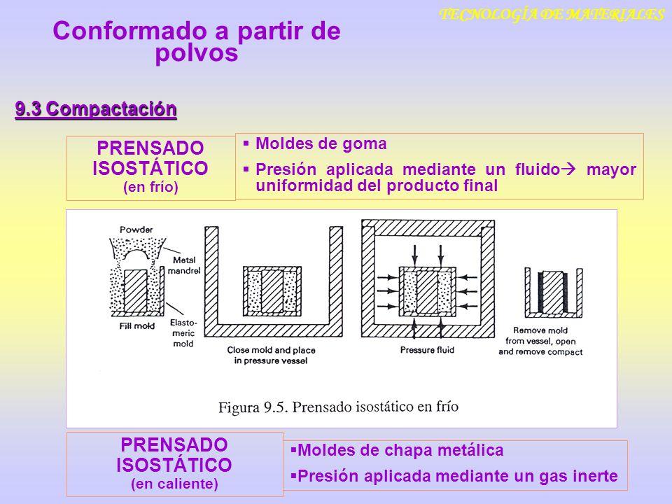 TECNOLOGÍA DE MATERIALES 9.3 Compactación Conformado a partir de polvos PRENSADO ISOSTÁTICO (en frío) Moldes de goma Presión aplicada mediante un flui
