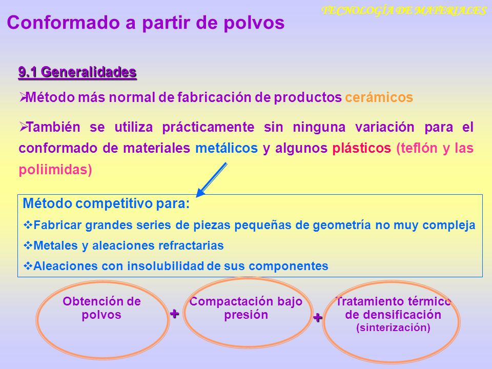 TECNOLOGÍA DE MATERIALES 9.1 Generalidades Método más normal de fabricación de productos cerámicos También se utiliza prácticamente sin ninguna variac