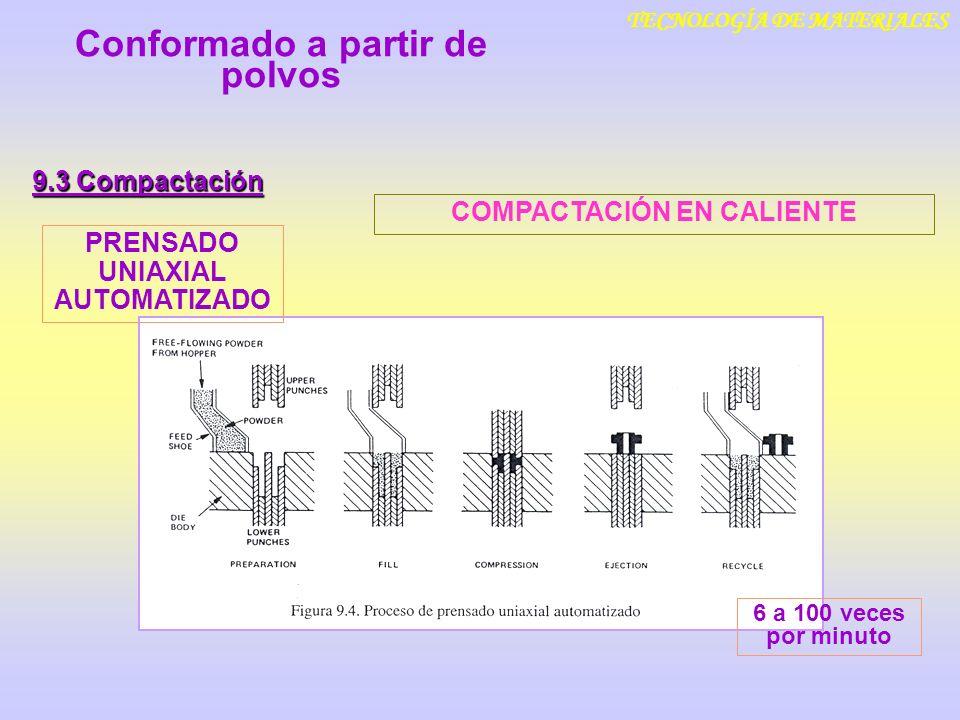 TECNOLOGÍA DE MATERIALES 9.3 Compactación Conformado a partir de polvos PRENSADO UNIAXIAL AUTOMATIZADO 6 a 100 veces por minuto COMPACTACIÓN EN CALIEN