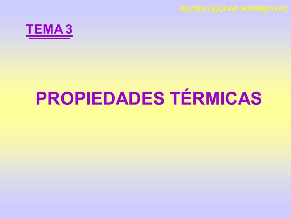 PROPIEDADES TÉRMICAS TEMA 3 TECNOLOGÍA DE MATERIALES