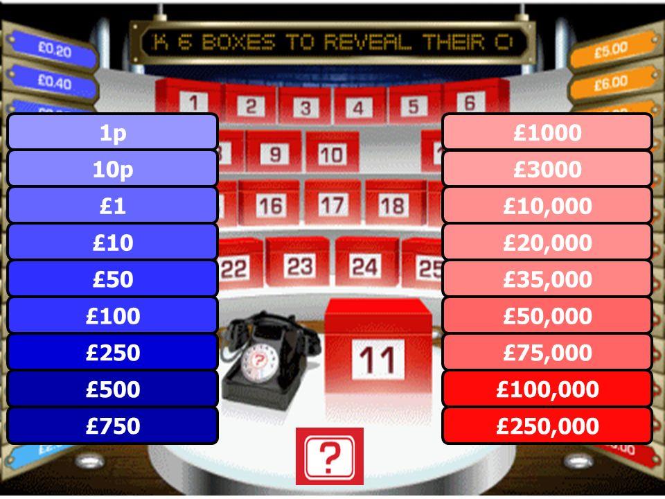 £1 £250 £100 £750 £500 £50 £10 10p 1p £250,000 £100,000 £75,000 £50,000 £35,000 £20,000 £10,000 £3000 £1000