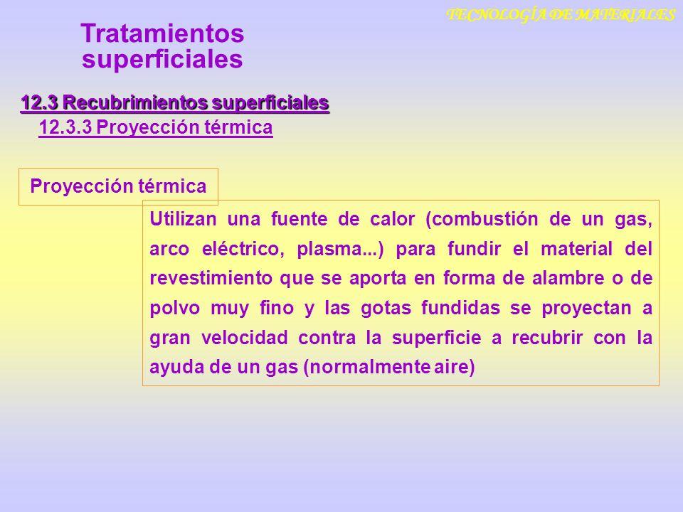 TECNOLOGÍA DE MATERIALES 12.3 Recubrimientos superficiales 12.3.3 Proyección térmica Tratamientos superficiales Proyección térmica Utilizan una fuente