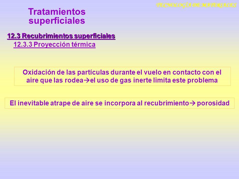 TECNOLOGÍA DE MATERIALES 12.3 Recubrimientos superficiales 12.3.3 Proyección térmica Tratamientos superficiales Oxidación de las partículas durante el