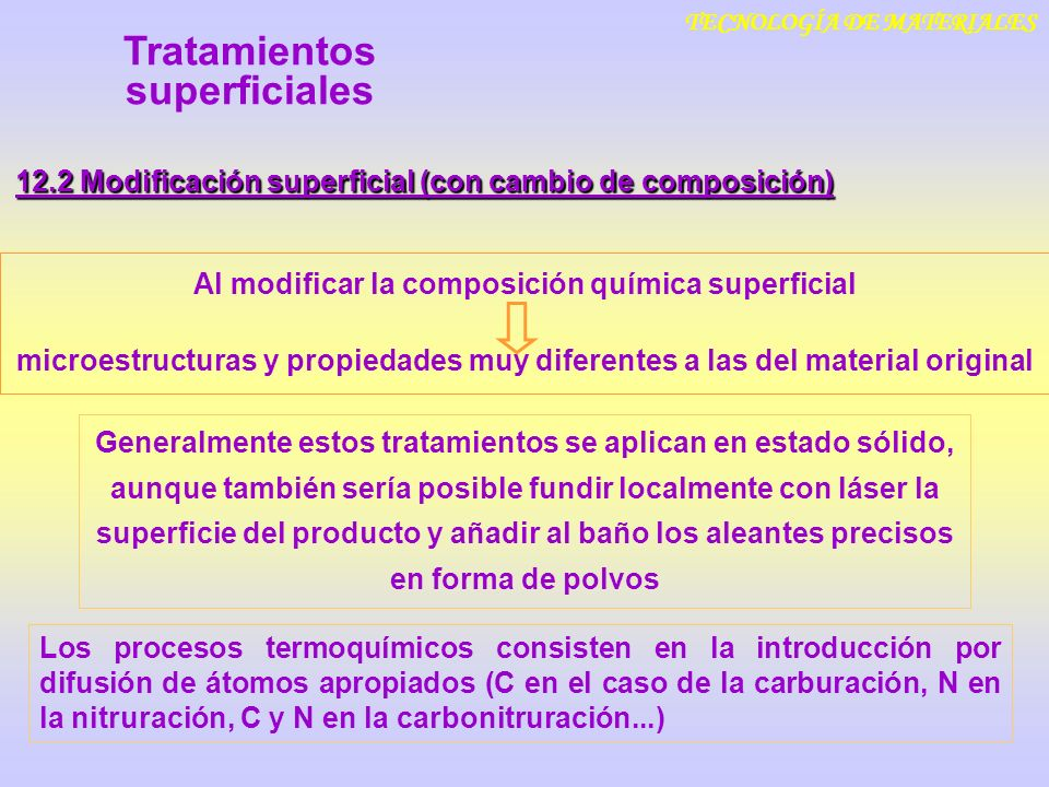 TECNOLOGÍA DE MATERIALES 12.2 Modificación superficial (con cambio de composición) Al modificar la composición química superficial microestructuras y