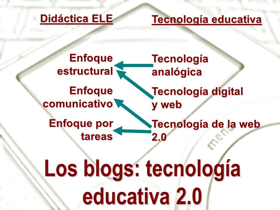 Los blogs: tecnología educativa 2.0 Didáctica ELE Enfoque estructural Enfoque comunicativo Enfoque por tareas Tecnología educativa Tecnología analógic