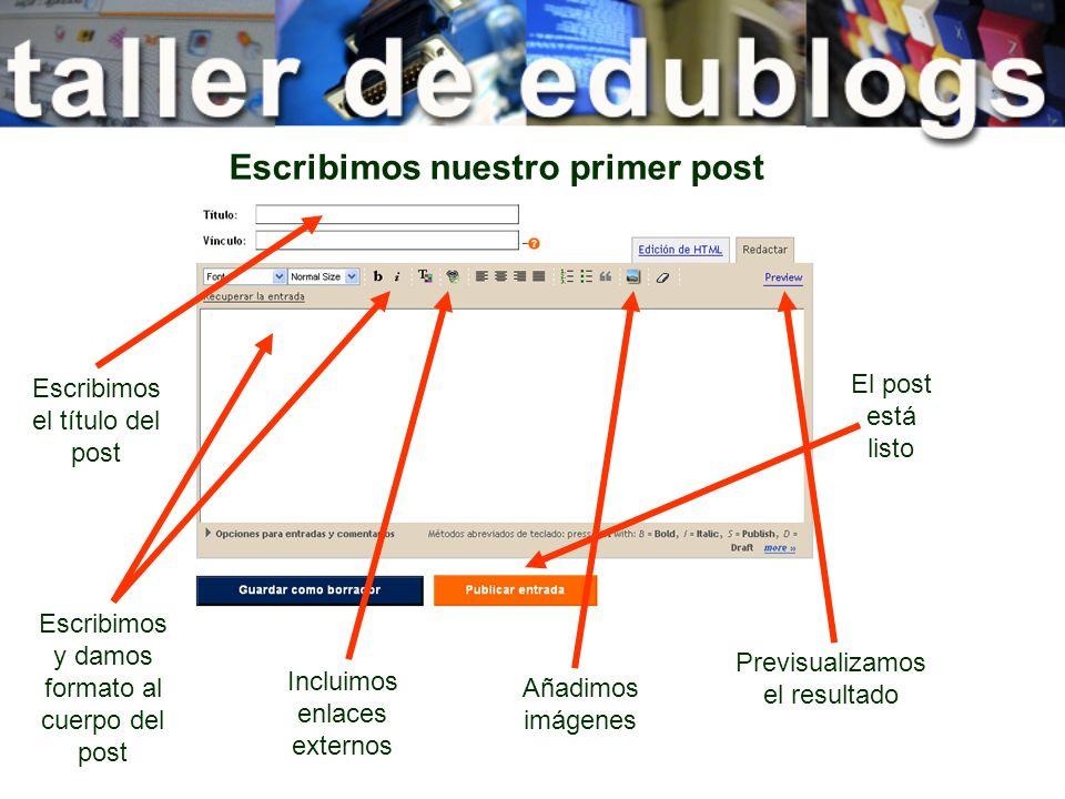 Escribimos nuestro primer post Escribimos el título del post Escribimos y damos formato al cuerpo del post Incluimos enlaces externos Añadimos imágene