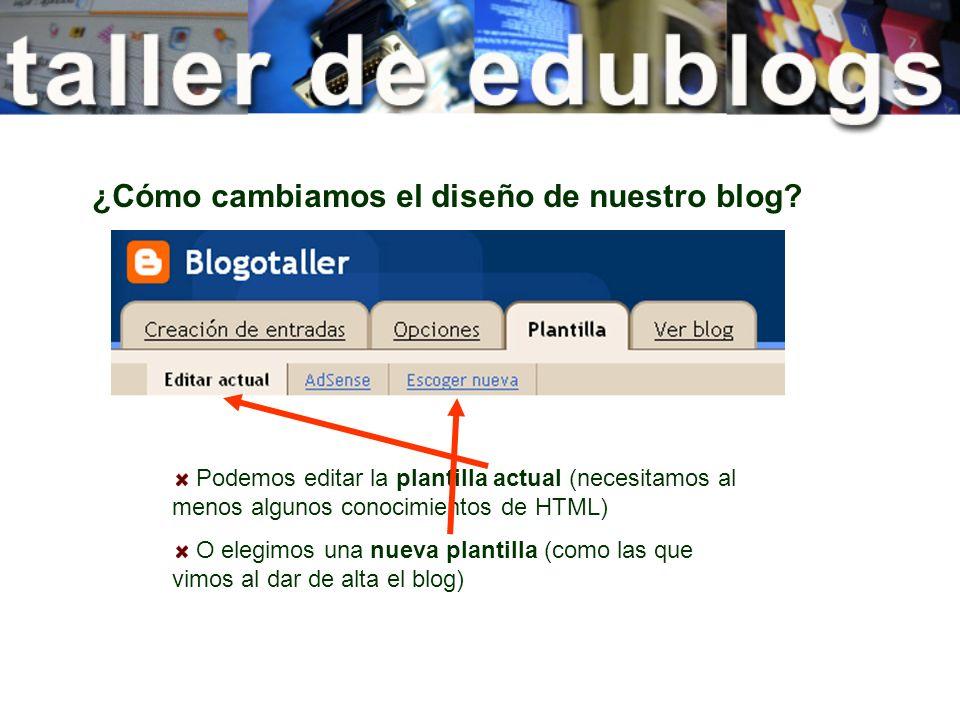 ¿Cómo cambiamos el diseño de nuestro blog? Podemos editar la plantilla actual (necesitamos al menos algunos conocimientos de HTML) O elegimos una nuev