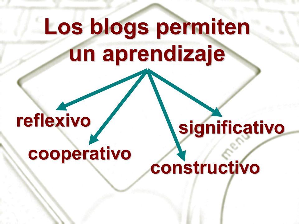 Los blogs permiten un aprendizaje reflexivo cooperativo constructivo significativo