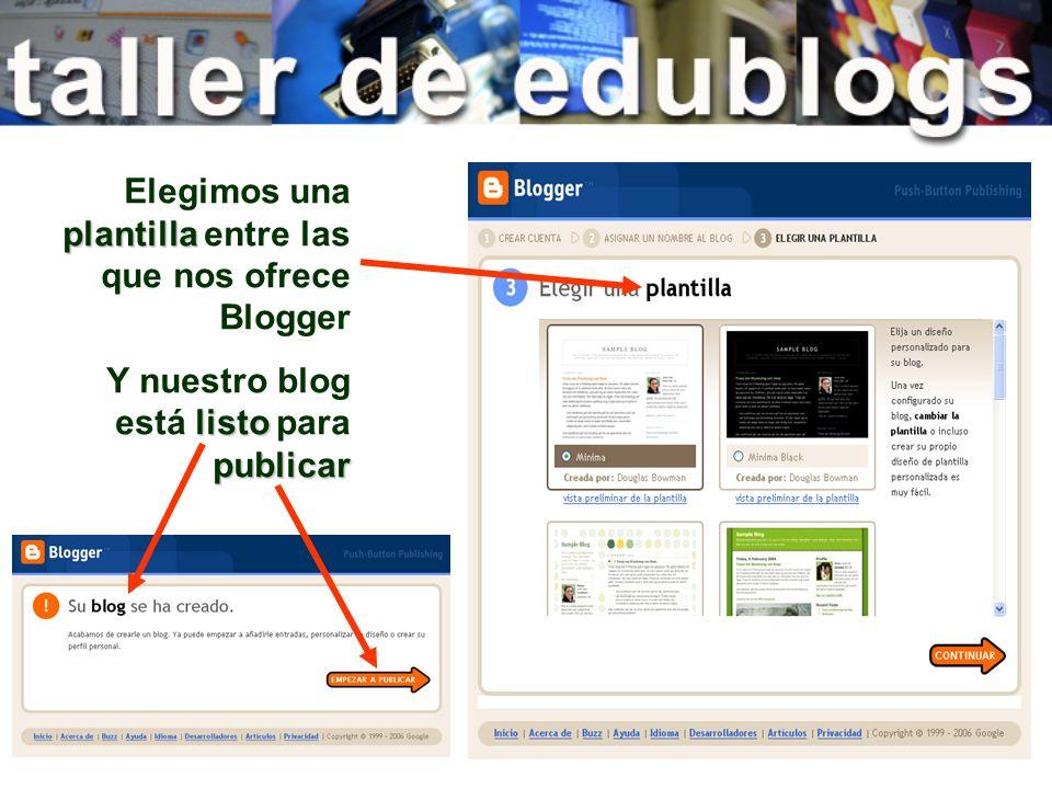 plantilla Elegimos una plantilla entre las que nos ofrece Blogger listo publicar Y nuestro blog está listo para publicar