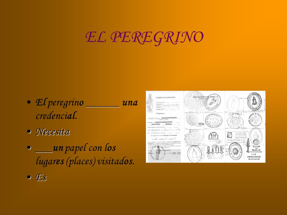 EL PEREGRINO ______El peregrino ______ una credencial. NecesitaNecesita ______un papel con los lugares (places) visitados. EsEs