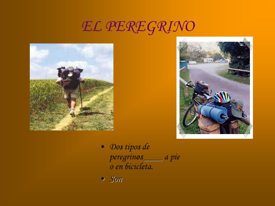 EL PEREGRINO ____Dos tipos de peregrinos ____ a pie o en bicicleta. SonSon