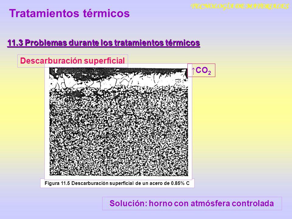 TECNOLOGÍA DE MATERIALES 11.3 Problemas durante los tratamientos térmicos Tratamientos térmicos Figura 11.5 Descarburación superficial de un acero de