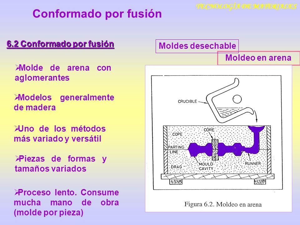 TECNOLOGÍA DE MATERIALES Conformado por fusión 6.2 Conformado por fusión Moldeo en cáscara Molde de arena aglomerada con resina plástica termoestable Moldes desechables