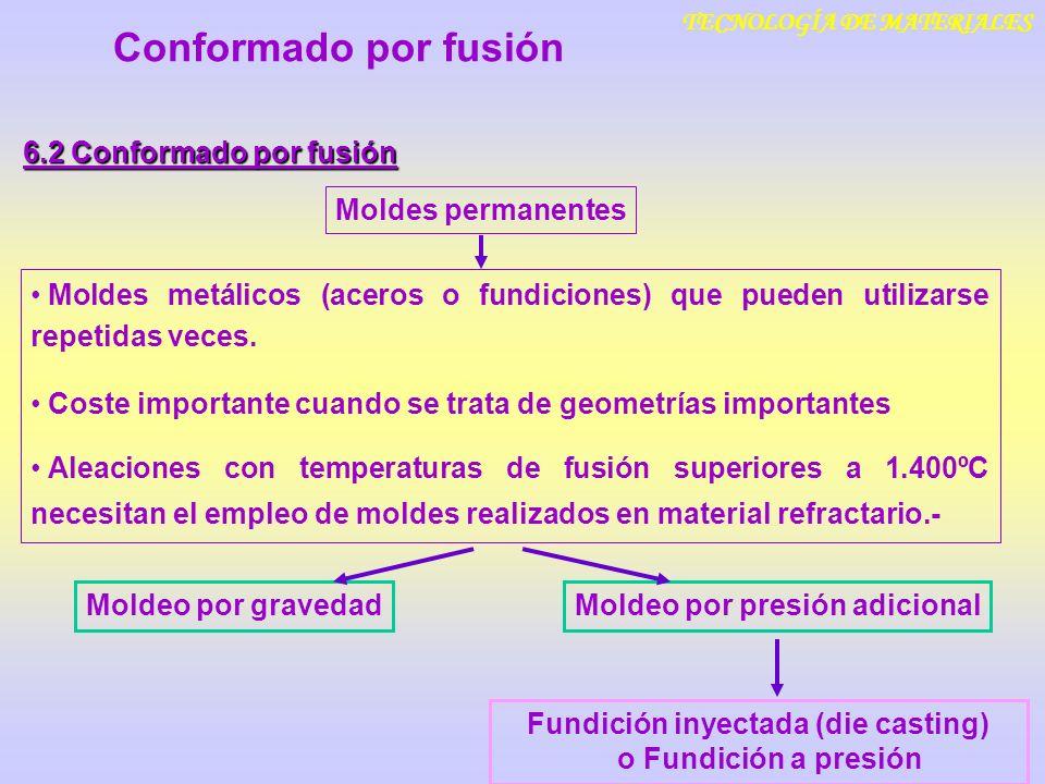 TECNOLOGÍA DE MATERIALES Conformado por fusión 6.2 Conformado por fusión Moldes permanentes Moldeo por gravedad