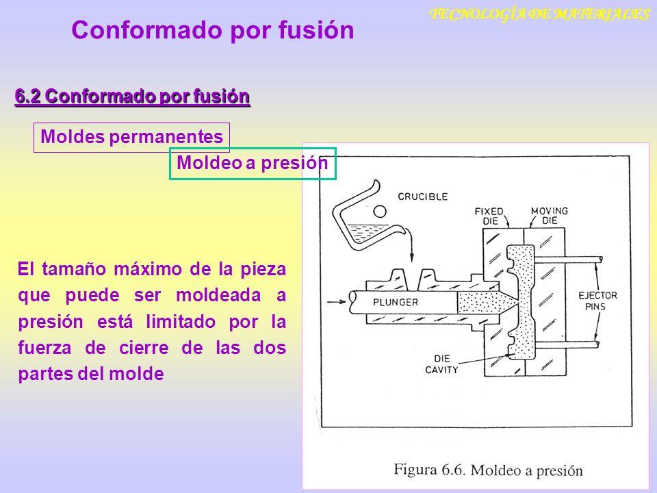 TECNOLOGÍA DE MATERIALES Conformado por fusión 6.2 Conformado por fusión Moldes permanentesMoldeo a presión Fundición centrifugada