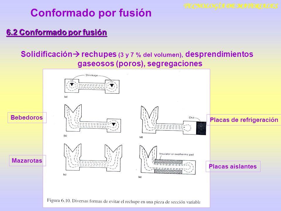 TECNOLOGÍA DE MATERIALES Conformado por fusión 6.2 Conformado por fusión Velocidad de enfriamiento f (espesor de la pieza ~ (superficie/volumen) 2, capacidad de transferencia térmica de los moldes) Controla el tamaño de grano, tipo de microestructura influye sobre las porpiedades mecánicas finales Conformado por fusión: Estructuras de solidificación columnares Tamaños de grano groseros Presencia inevitable de defectos internos (poros y cavidades) Presencia de óxidos Segregaciones Peores propiedades mecánicas finales que otros métodos
