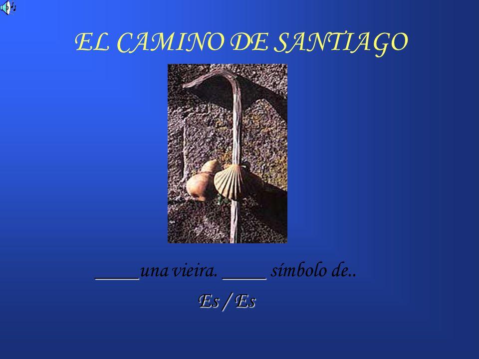 EL CAMINO DE SANTIAGO ______ un peregrinaje medieval hacia Santiago de Compostela EsEs ____ Una cuidad que ____ en España.