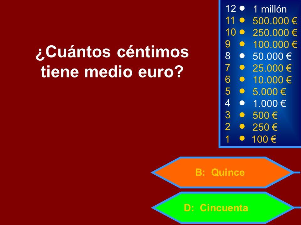 1100 8 7 6 3 50.000 25.000 10.000 500 12 11 10 9 1 millón 500.000 250.000 100.000 ¿Cuántos céntimos tiene medio euro? 2 250 D: Cincuenta 4 1.000 B: Qu