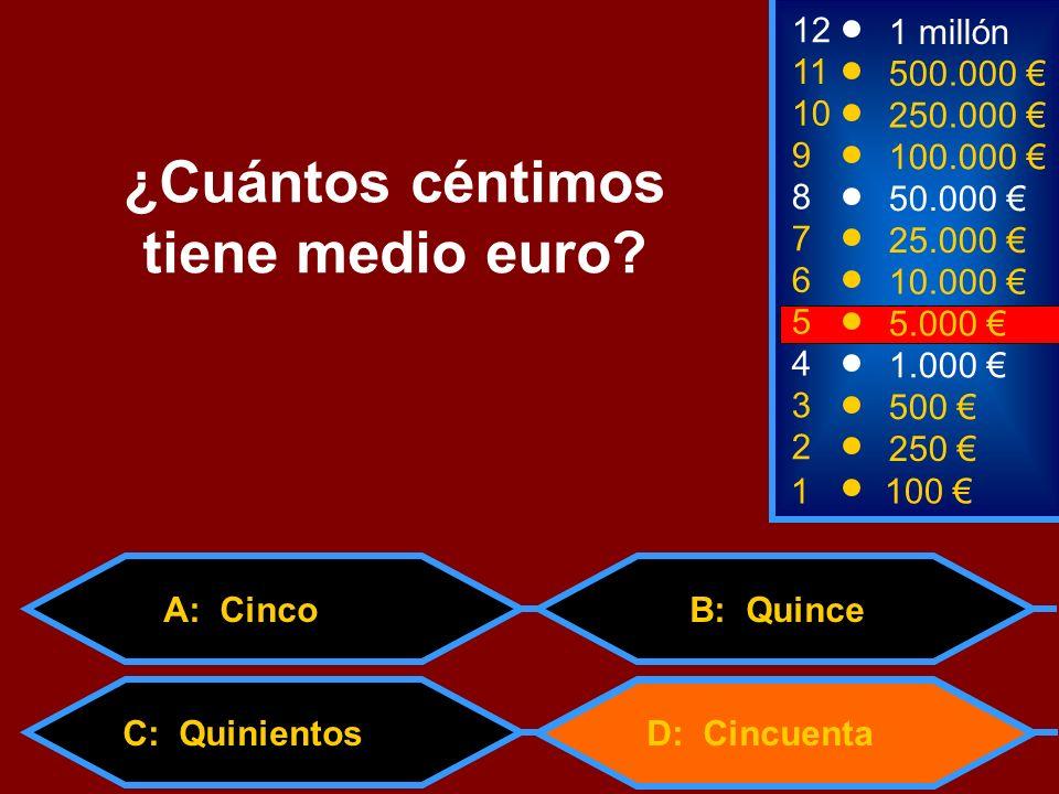 1100 8 7 6 3 50.000 25.000 10.000 500 12 11 10 9 1 millón 500.000 250.000 100.000 ¿Cuántos céntimos tiene medio euro? 2 250 4 1.000 5 5.000 D: Cincuen