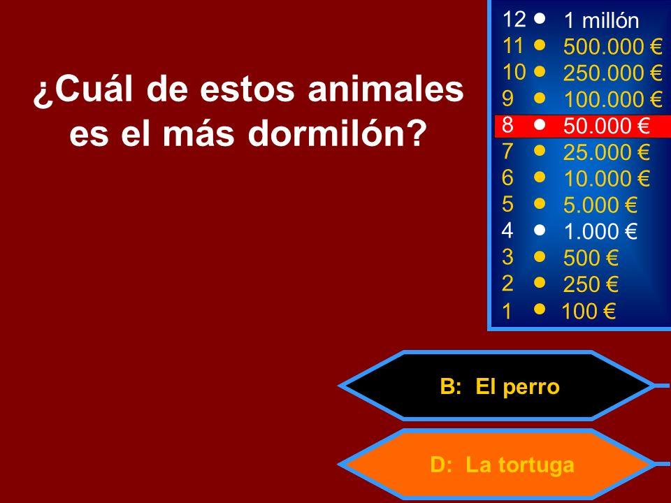 D: La tortuga B: El perro 2 250 8 50.000 12 11 10 9 1 millón 500.000 250.000 100.000 ¿Cuál de estos animales es el más dormilón? 1 100 3 500 4 1.000 5